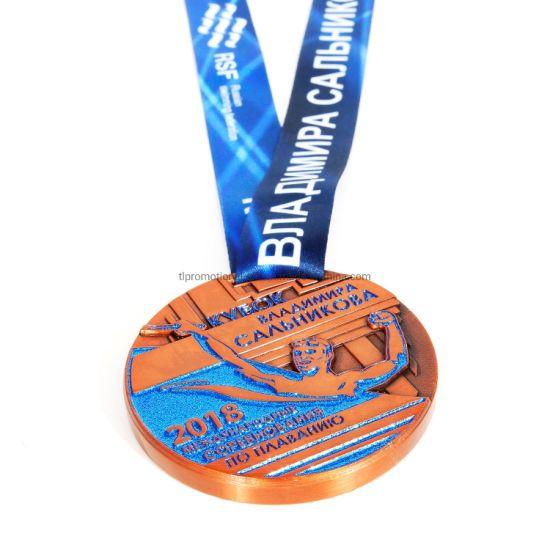 Custom Sports Spinning Glitter Swimming Medal