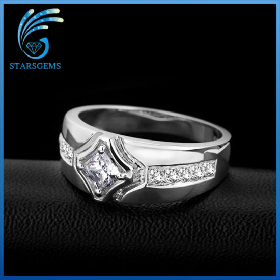Classic Style White Cubic Zirconia Pure 925 Sterling Silver Man′s Ring Jewelry pictures & photos