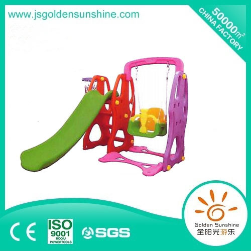 Indoor Playground Equipment of Plastic Multi-Functional Slide and Swing Set