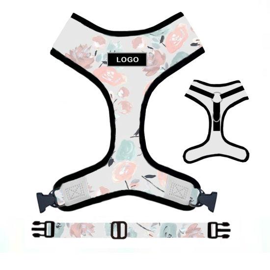 Custom Logo Sublimation Printing Adjustable Pet Dog Harness and Leash