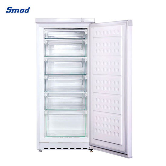 152L Single Door Defrost Vertical Upright Freezer with 6 Drawers