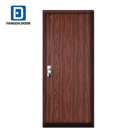 Teak Wood Red Walnut Bullet Proof Residential Main Security Exterior Steel  Safety Door