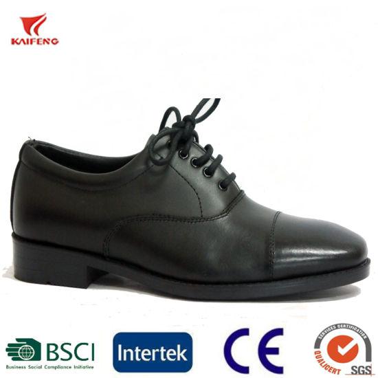 Black Leather Men's Dress Uniform Shoes