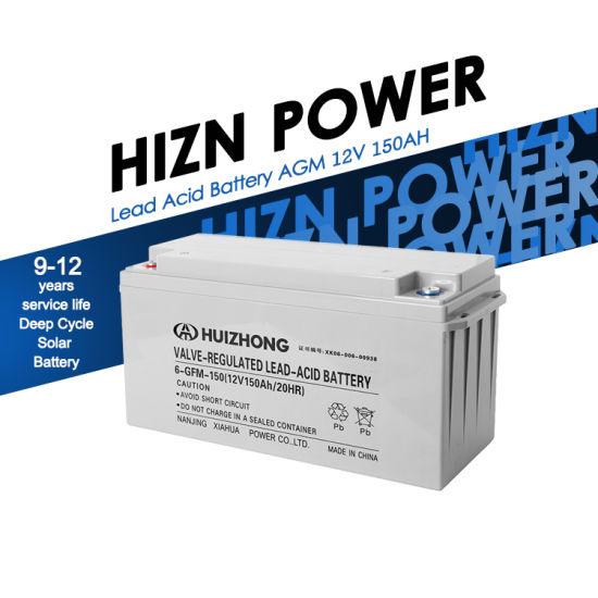 Hizn Power Manufacturer Wholesale Lead Acid Battery AGM 12V 150ah Solar Deep Cycle Battery