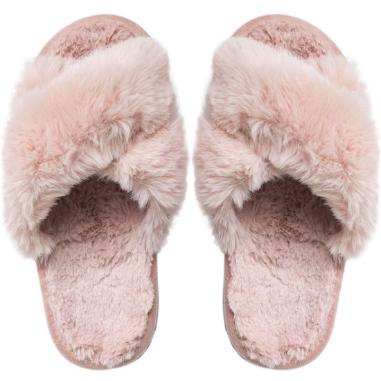 Female Winter Slippers Women Warm Bedroom Shoes Soft Cross Plush Open Toe Furry Warm Sandals Slippers