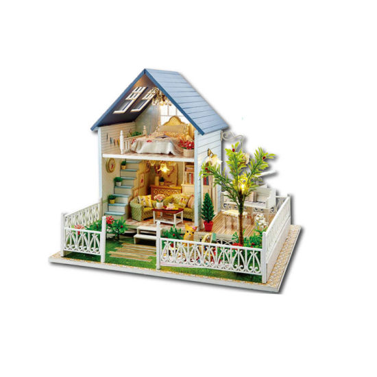 Dollhouse Miniature DIY Kit with Cover Wood Toy Handcraft Doll House Cottage USA