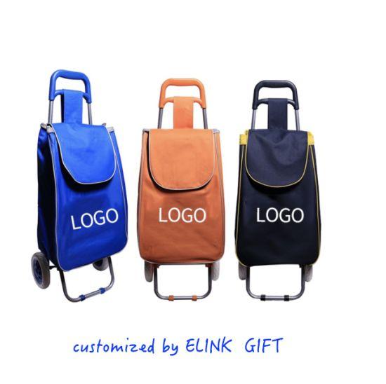 Customized Logo Grocery Supermarket Folding Shopping Cart Bag Shopping Trolley