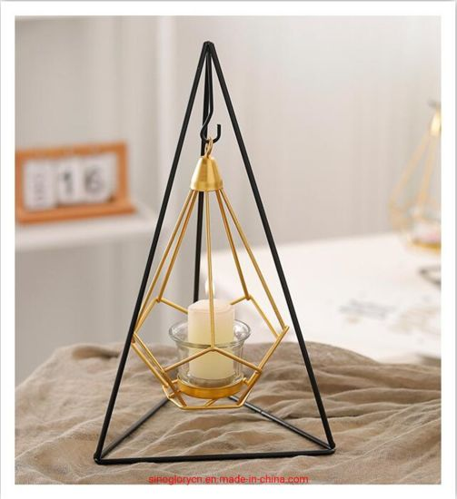 Golden Home Decorations Wrought Iron Hanging Candle Holders Metal Ornaments