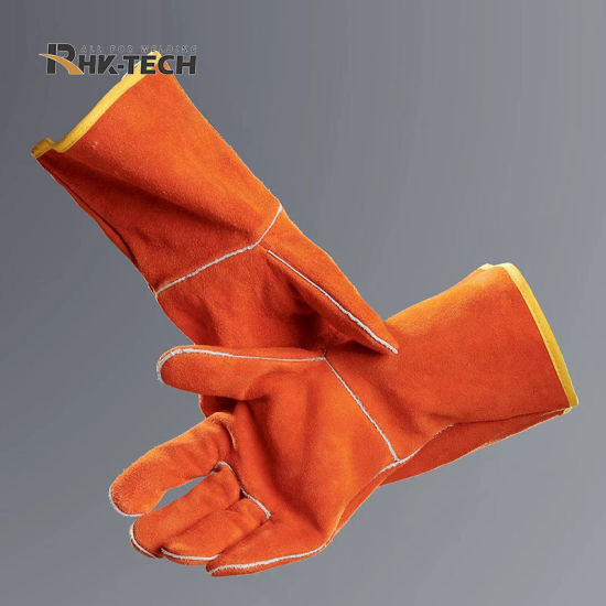 High Quality Long Sleeve Cow Split Leather Welding Gloves with CE Certificate pictures & photos