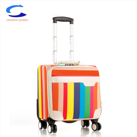 2018 Fashion 15′′ Tsa Lock 4 Spinner Wheel Nylon Shell Polyester Lining  Printed Rainbow Multicolor Surface Suitcase Underseat Trolley Luggage f77ff510d8d4c