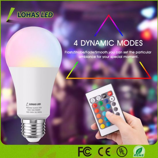 Smart Wireless Remote Control 16 Color RGB LED Bulb Light pictures & photos