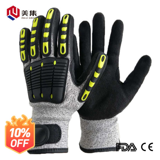 Excellent Grip Anti Vibration Oil Proof Cut Resistant Safety Working Gloves Sandy Nitrile for Impact Proof
