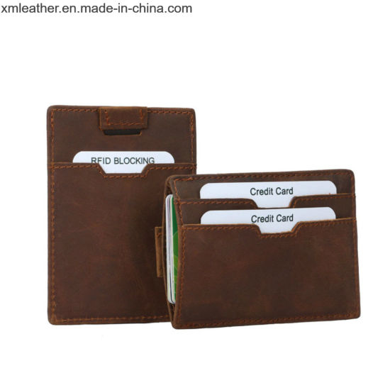China Top Grain Leather Rfid Blocking Businesscredit Card Wallet