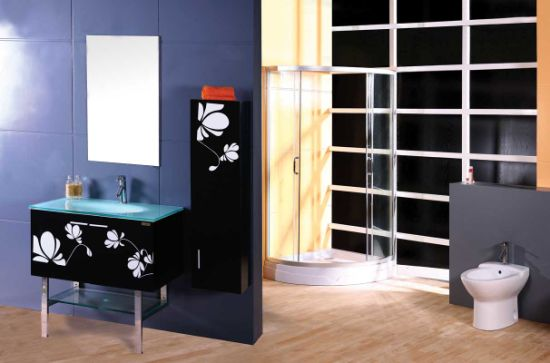 Hot Sale Classic Glass Wash Basin Solid Wooden Bathroom Cabinet