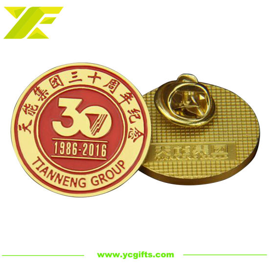 Factory Customized Metal Souvenir Pin Company Anniversary Promotion Gift Gold Plated Name Badge (BG66)