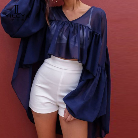 Chiffon Blouse V Neck Long Sleeve Top Shirts Fancy Tops for Womens Custom Blouse