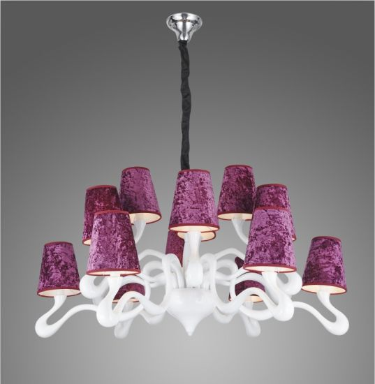 Big Chandelier Made in Polyresin and Fabric Shade