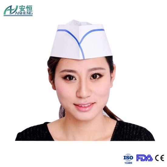 80GSM Disposable Chef White Paper Forage Cap with Red Strip