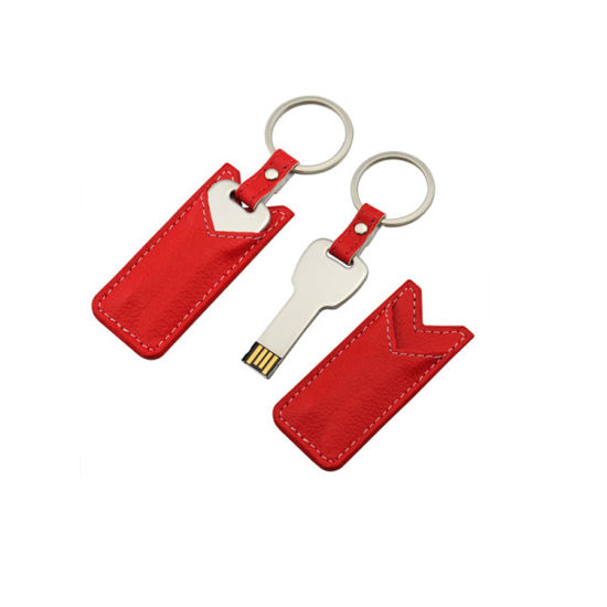 Custom Leather Key Chain USB Flash Drives for Gifts