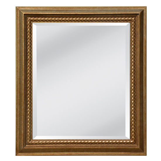 Antique Gold Traditional Rectangle Beveled Mirror Frame