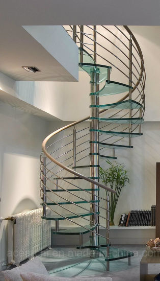 Modern Design Stainless Steel Gl Spiral Staircase Stairs With Rod Bar Railing Systems