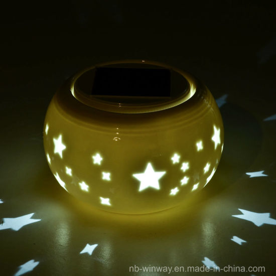 Solar Powered Table Ceramic Lantern