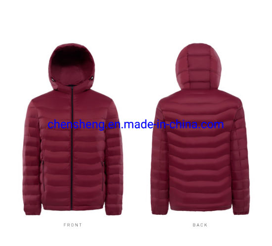 Stock Cheap Men Down Cotton Light Jacket with Hoodie for Winter