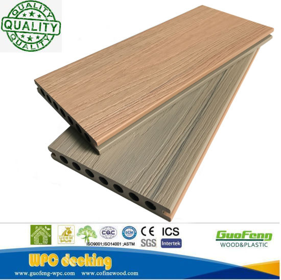 Anti-Slip Easily-Installed Engineered Co-Extrusion WPC Decking Boards with 2 Colors on One Profile