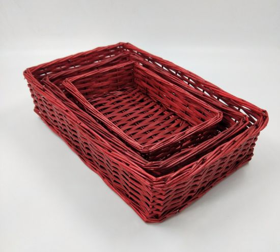 Hot Sell Red Rectangle Willow Basket Set (BC-WB18)