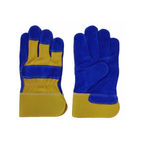 Safety Blue Industrial Leather Hand Gloves pictures & photos