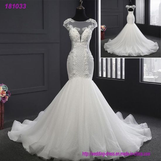 China Newest Design Long Tail Bridal Luxury Mermaid Wedding Dress ...