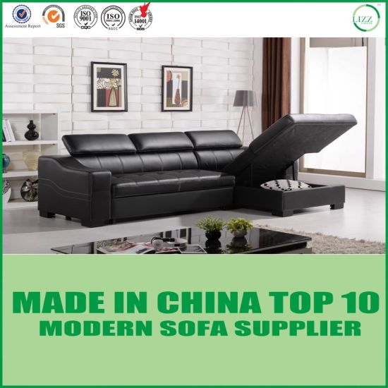 Modern Italian Leather Sofa Bed With Storage