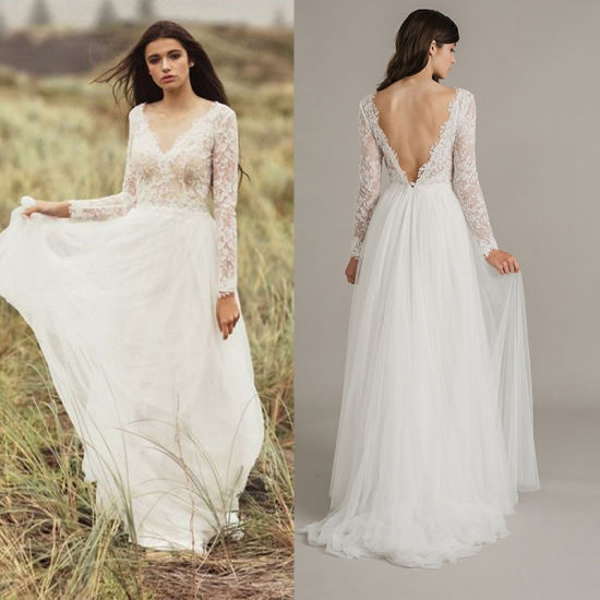 Long Sleeves Bridal Dress Lace Hi Low Beach Country Garden Wedding Gown H14723