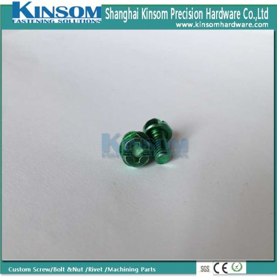 Phillips Slot Indented Hexagon Machine Screw with Color Zinc Plating pictures & photos