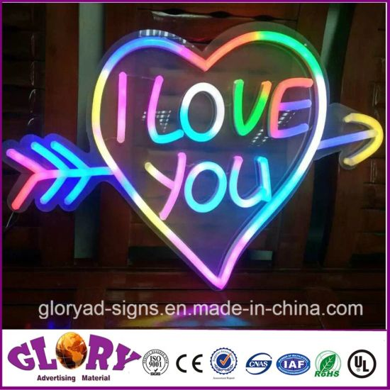China Heart Shape LED Neon Sign RGB Decorative Soft Neon