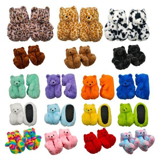 New Teddy Bear Slippers Woman Indoor Fur Sandals Cartoon Soft Plush House Shoes Teddy Bear Slippers