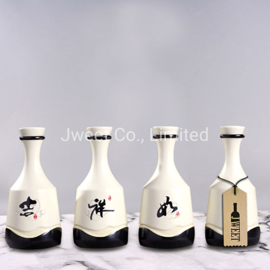 Elegant Design Fine Liquor Usage Ceramic White Bottles with Cork