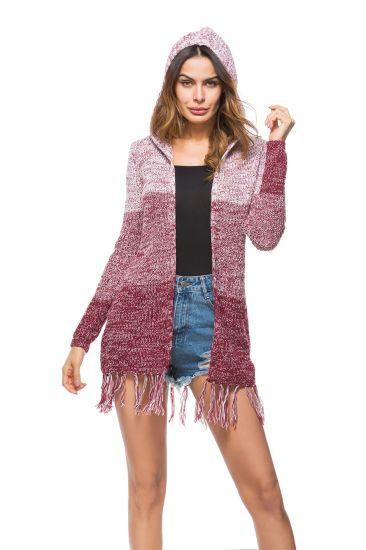 MID-Length Knitwear Tassel Cardigan Coat Women Casual Sweater