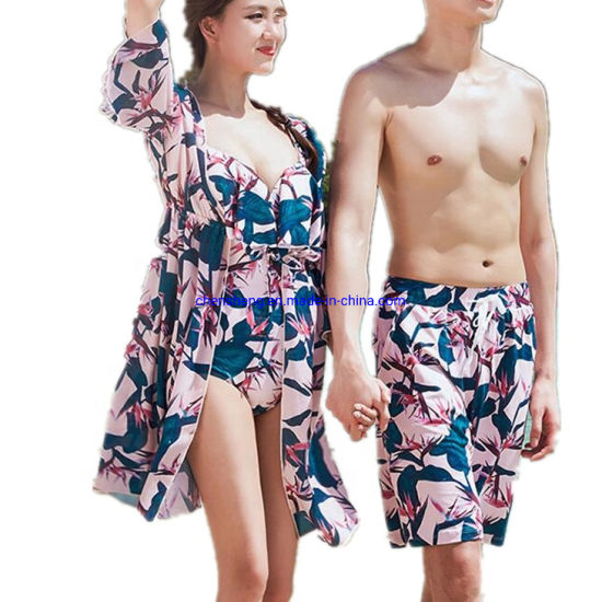 New Fashion Waterproof Quick Dry Flower Printing Beach Shorts for Couple