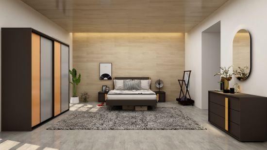 Metal Frame King Size Bedroom Set With, Wood And Metal Bedroom Furniture Set