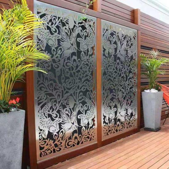 Factory Customized Courtyard Garden Metal Screen Partition Decoration Laser Cut Aluminum Screen Partition