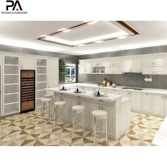 China European Style Luxury Furniture Custom Design White Shaker Kitchen Pantry Cabinets China Solid Wood Kitchen Cabinet Storage Cabinet