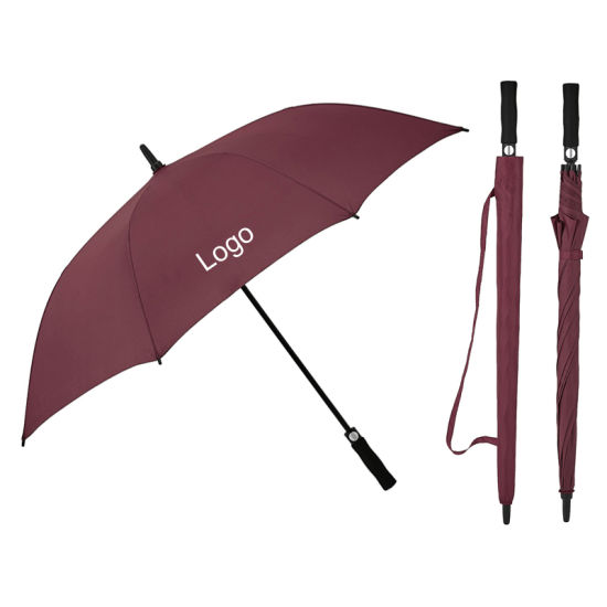 Big/Large 30 Inch Customized Logo Windproof Fiberglass Frame Long Golf Umbrella with Custom Full Cover Printing for Promotion/Gift/Advertisement/Wholesale