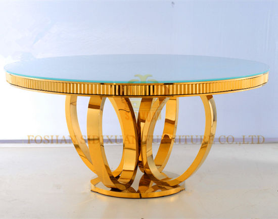 New Modern Diameter 1 3m Round And Gold Colour Glass Dining Table