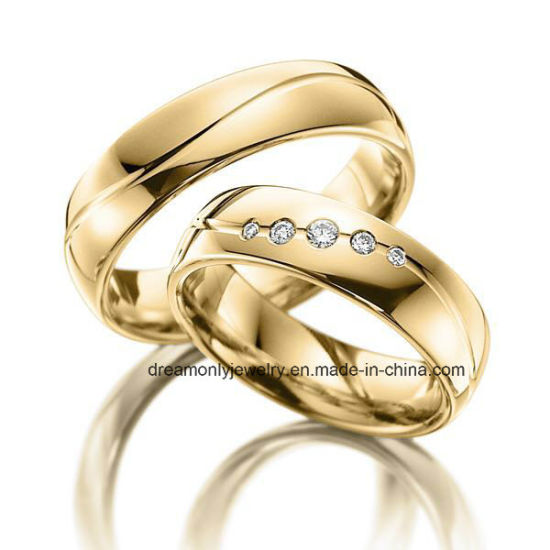 China Oem Design 18k Gold Plated Couple Wedding Bands Solid Brass