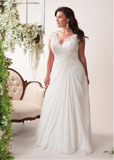 Chiffon Bridal Gowns Plus Size Beach Wedding Evening Dress ...