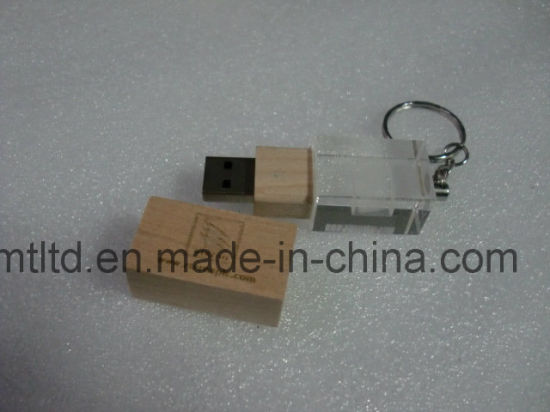 Four LED Light Inside The Crystal USB Flash Drive Promotional Custom Stick pictures & photos