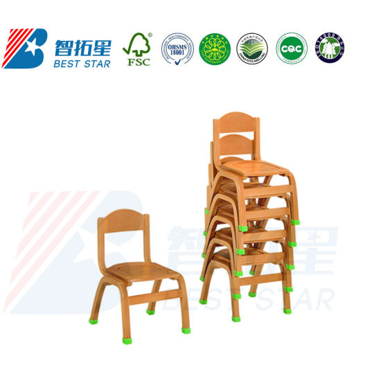Modern Student Wooden Stackable Chair, Children Kindergarten Kids Chair, Nursery School Classroom Furniture Chair, Preschool Furniture