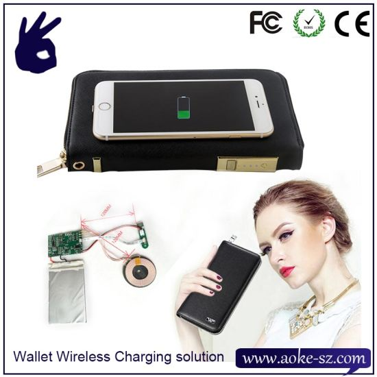 Fashion Electronic Wireless Charging Wallet Power Bank Solution PCBA
