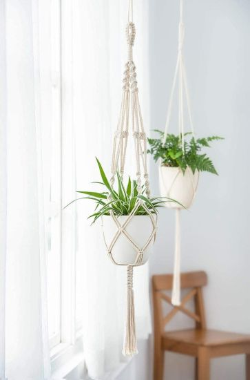 Indoor Outdoor Cotton Rope 4 Legs 41 Inch Macrame Hanging Basket Plant Hanger